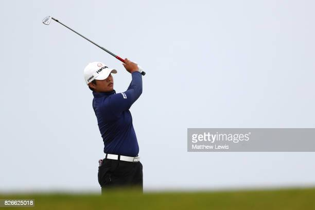 Haru Nomura of Japan hits her second shot on the 4th hole during the third round of the Ricoh Women's British Open at Kingsbarns Golf Links on August...