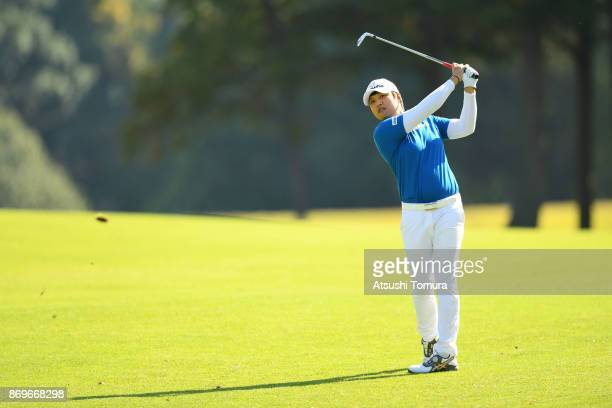 Haru Nomura of Japan hits her second shot on the 6th hole during the first round of the TOTO Japan Classics 2017 at the Taiheiyo Club Minori Course...