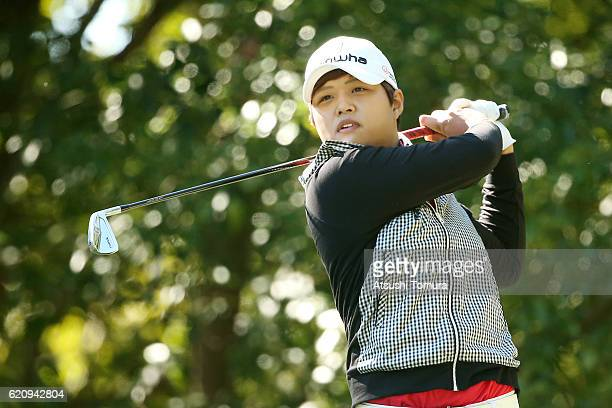 Haru Nomura of Japan hits her tee shot on the 3rd hole during the first round of the TOTO Japan Classics 2016 at the Taiheiyo Club Minori Course on...