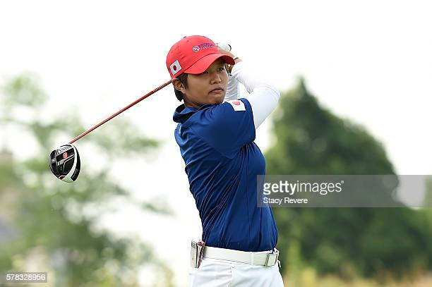Haru Nomura of Japan hits her tee shot on the fourth hole during the fourball session of the 2016 UL International Crown at the Merit Club on July 21...