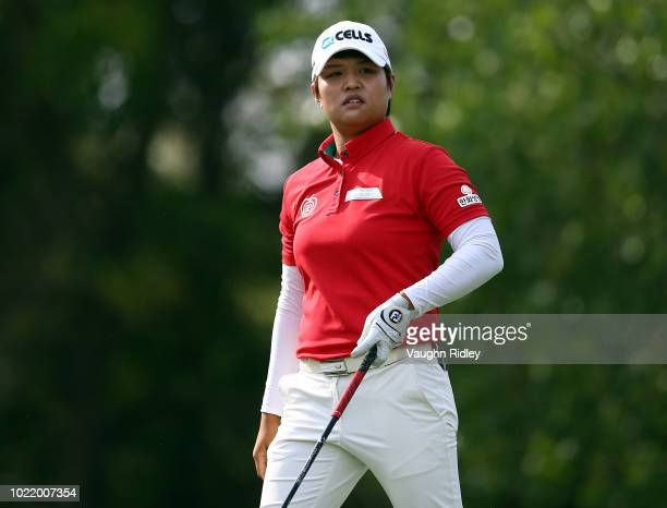 Haru Nomura of Japan hits her tee shot on the second hole during the first round of the CP Womens Open at the Wascana Country Club on August 23 2018...