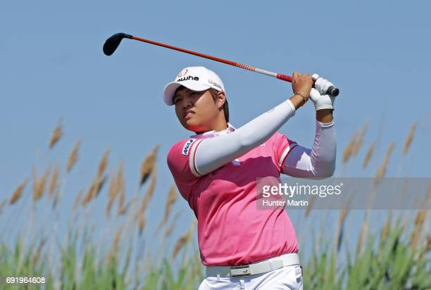 Haru Nomura of Japan hits her tee shot on the seventh hole during the second round of the ShopRite LPGA Classic presented by Acer on the Bay Course...