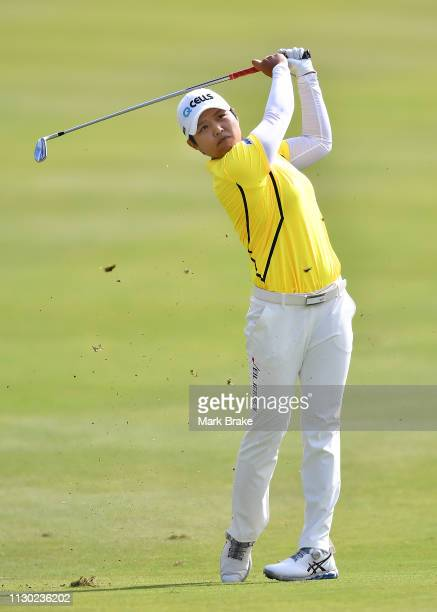 Haru Nomura of Japan hits onto the 17th green during day four of the 2019 ISPS Handa Women's Australian Open at The Grange GC on February 17 2019 in...