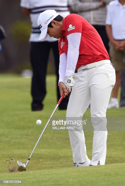Haru Nomura of Japan hits to the green during the joint LPGA and EPGA tour Vic Open golf tournament at the 13th Beach Golf Links at Barwon Heads near...