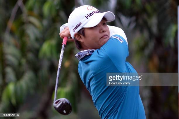 Haru Nomura of Japan in action during day two of the Sime Darby LPGA Malaysia at TPC Kuala Lumpur East Course on October 27 2017 in Kuala Lumpur...