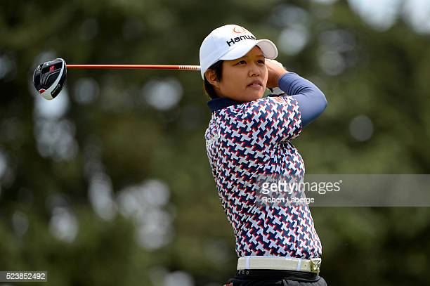 Haru Nomura of Japan makes a tee shot on the fifth hole during the final round of the Swinging Skirts LPGA Classic presented by CTBC at the Lake...
