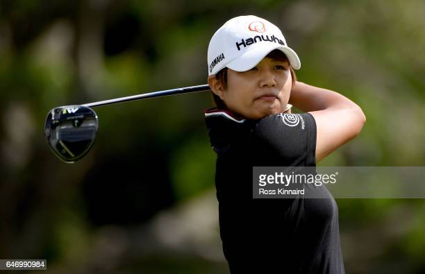 Haru Nomura of Japan on the four 14th tee during the first round of the HSBC Women's Champions on the Tanjong course at Sentosa Golf Club on March 2...