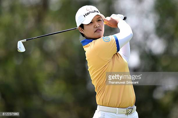 Haru Nomura of Japan plays a shot during day one of the 2016 Honda LPGA Thailand at Siam Country Club on February 25 2016 in Chon Buri Thailand