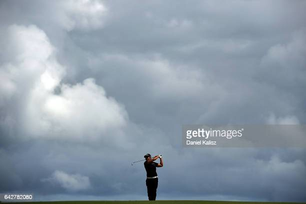 Haru Nomura of Japan plays a shot during round four of the ISPS Handa Women's Australian Open at Royal Adelaide Golf Club on February 19 2017 in...