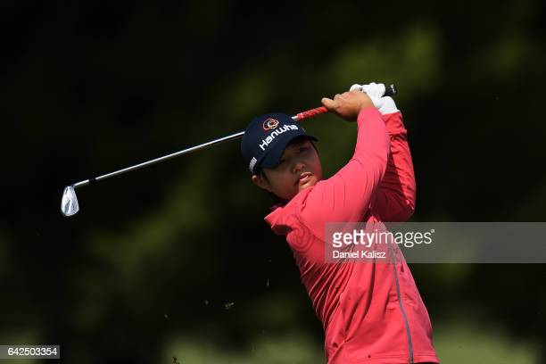 Haru Nomura of Japan plays a shot during round three of the ISPS Handa Women's Australian Open at Royal Adelaide Golf Club on February 18 2017 in...