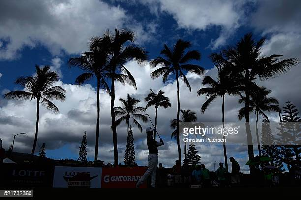 Haru Nomura of Japan plays a tee shot on the 16th hole during the final round of the LPGA LOTTE Championship Presented By Hershey at Ko Olina Golf...