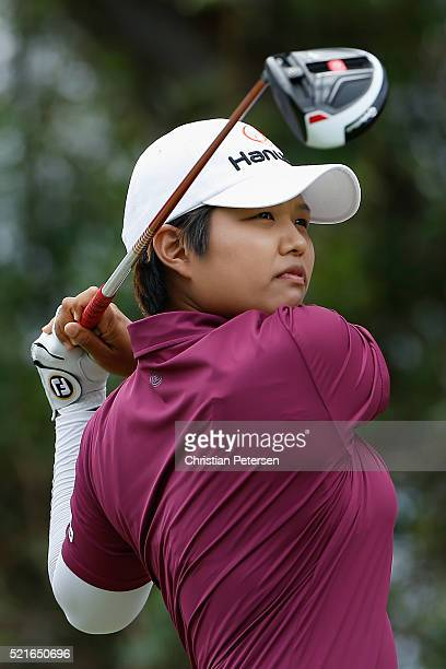 Haru Nomura of Japan plays a tee shot on the fifth hole during the final round of the LPGA LOTTE Championship Presented By Hershey at Ko Olina Golf...
