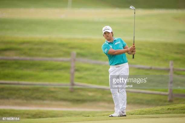 Haru Nomura of Japan plays her fourth shot at the eighteenth hole during the second round of the Volunteers of America North Texas Shootout at Las...