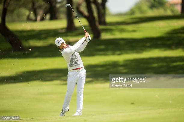 Haru Nomura of Japan plays her second shot at the ninth hole during the final round of the Volunteers of America North Texas Shootout at Las Colinas...