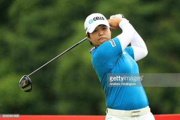 Haru Nomura of Japan plays her shot from the 14th tee during round two of the HSBC Women's World Championship at Sentosa Golf Club on March 2 2018 in...