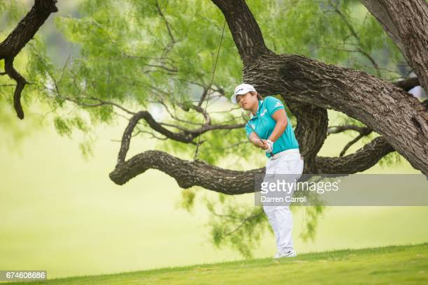 Haru Nomura of Japan plays her third shot at the eighteenth hole during the second round of the Volunteers of America North Texas Shootout at Las...