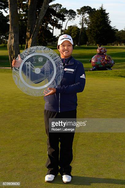 Haru Nomura of Japan poses with the winner's trophy after winning the Swinging Skirts LPGA Classic presented by CTBC at the Lake Merced Golf Club on...