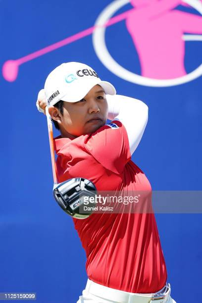 Haru Nomura of Japan tees off during day three of the 2019 ISPS Handa Women's Australian Open at The Grange GC on February 16 2019 in Adelaide...