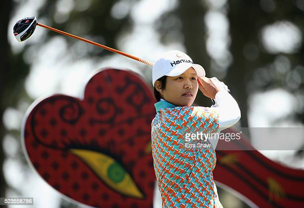 Haru Nomura of Japan tees off on the second hole during round three of the Swinging Skirts LPGA Classic at Lake Merced Golf Club on April 23 2016 in...
