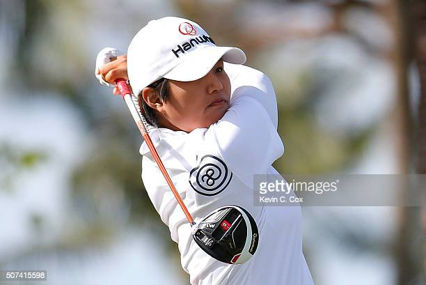 Haru Nomura of Japan tees off the 11th hole during the second round of the Pure Silk Bahamas LPGA Classic at the Ocean Club Golf Course on January 29...