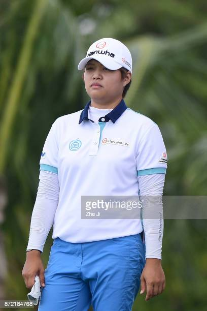 Haru Nomura of Japan waits to play a shot on the 15th hole during the second round of the Blue Bay LPGA at Jian Lake Blue Bay golf course on November...