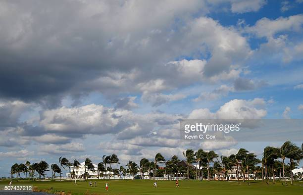 Haru Nomura of Japan walks down the 16th hole during the second round of the Pure Silk Bahamas LPGA Classic at the Ocean Club Golf Course on January...