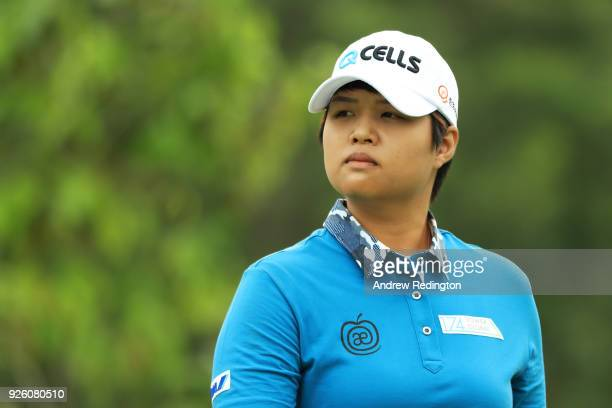 Haru Nomura of Japan walks from the 14th tee during round two of the HSBC Women's World Championship at Sentosa Golf Club on March 2 2018 in Singapore