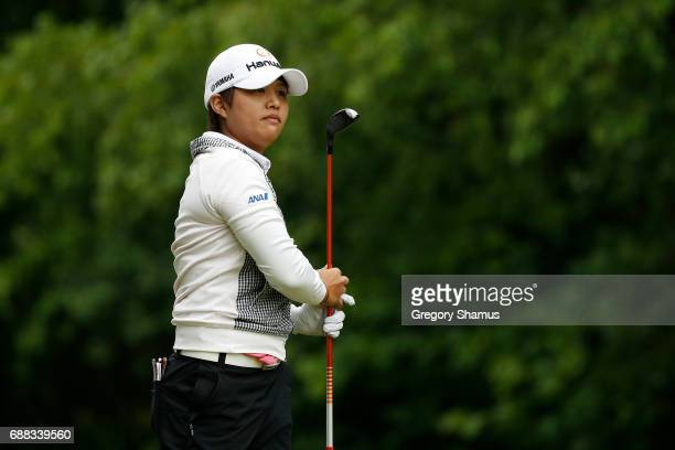 Haru Nomura of Japan watches her drive on the seventh hole during the first round of the LPGA Volvik Championship on May 25 2017 at Travis Pointe...