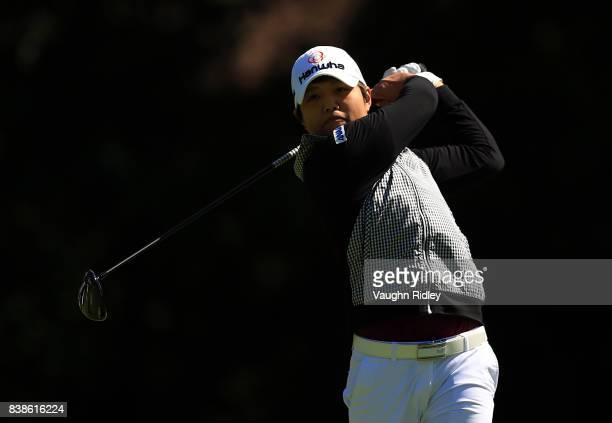 Haru Nomura of Japan watches her shot on the 4th hole during round one of the Canadian Pacific Women's Open at the Ottawa Hunt Golf Club on August 24...