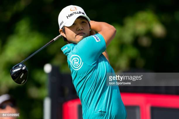 Haru Nomura tees off on the 1st hole during the final round of the Canadian Pacific Women's Open on August 27 2017 at The Ottawa Hunt and Golf Club...