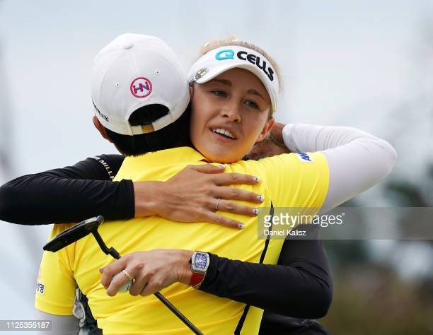 Haru Nomuro of Japan and Nelly Korda of the United States celebrate during day four of the 2019 ISPS Handa Women's Australian Open at The Grange GC...