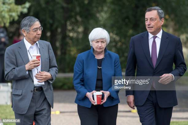 Haruhiko Kuroda governor of Bank of Japan from left Janet Yellen chair of Board of Governors of the Federal Reserve System and Mario Draghi president...