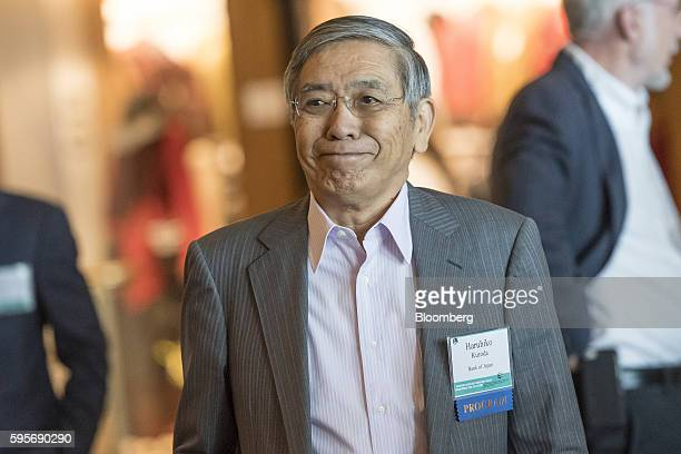 Haruhiko Kuroda governor of the Bank of Japan arrives for a welcome dinner during the Jackson Hole economic symposium sponsored by the Federal...