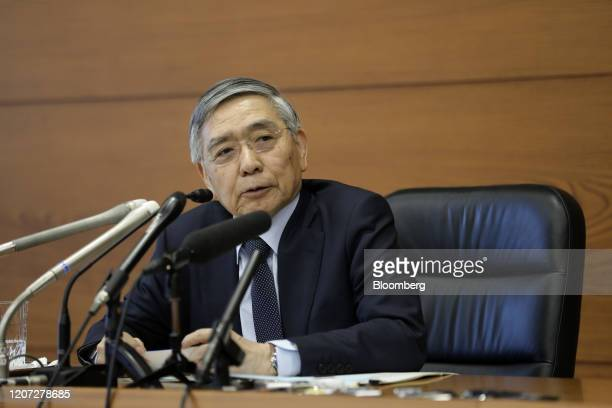 Haruhiko Kuroda, governor of the Bank of Japan , attends a news conference at the central bank's headquarters in Tokyo, Japan, on Monday, March 16,...