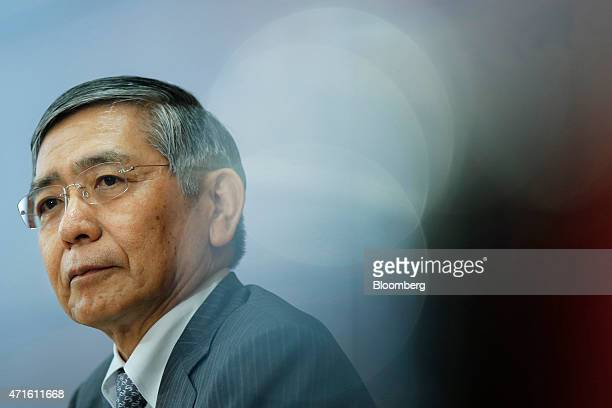 Haruhiko Kuroda governor of the Bank of Japan attends a news conference at the central bank's headquarters in Tokyo Japan on Thursday April 30 2015...