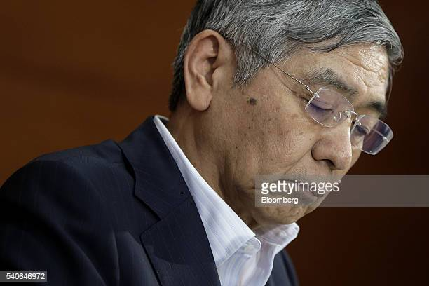 Haruhiko Kuroda governor of the Bank of Japan attends a news conference at the central bank's headquarters in Tokyo Japan on Thursday June 16 2016...