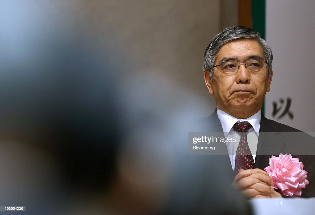 Haruhiko Kuroda, governor of the Bank of Japan (BOJ), attends the annual meeting of the Trust Companies Association of Japan in Tokyo, Japan, on Monday, April 15, 2013. Kuroda reiterated today that he has a two-year time horizon in mind for achieving his inflation goal. He will also speak today at the annual meeting. Photographer: Tomohiro Ohsumi/Bloomberg via Getty Images