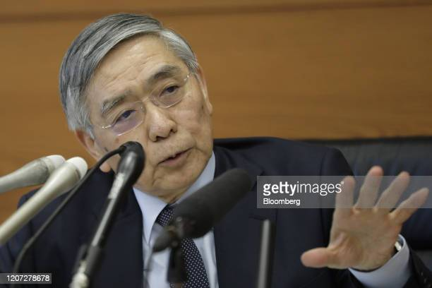 Haruhiko Kuroda, governor of the Bank of Japan , gestures as he speaks during a news conference at the central bank's headquarters in Tokyo, Japan,...