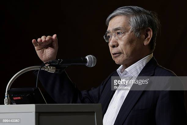 Haruhiko Kuroda governor of the Bank of Japan gestures as he speaks at a meeting hosted by Kyodo News in Tokyo Japan on Monday Sept 5 2016 Kuroda...