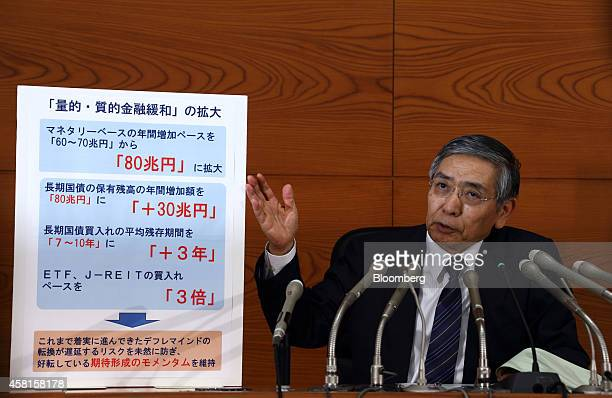 Haruhiko Kuroda governor of the Bank of Japan gestures to a sign as he speaks during a news conference at the central bank's headquarters in Tokyo...