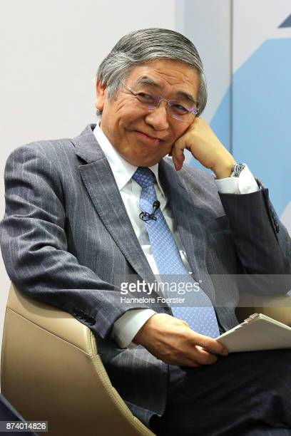 Haruhiko Kuroda, Governor of the Bank of Japan, in a panel to discuss central bank communication on November 14, 2017 in Frankfurt, Germany. The...