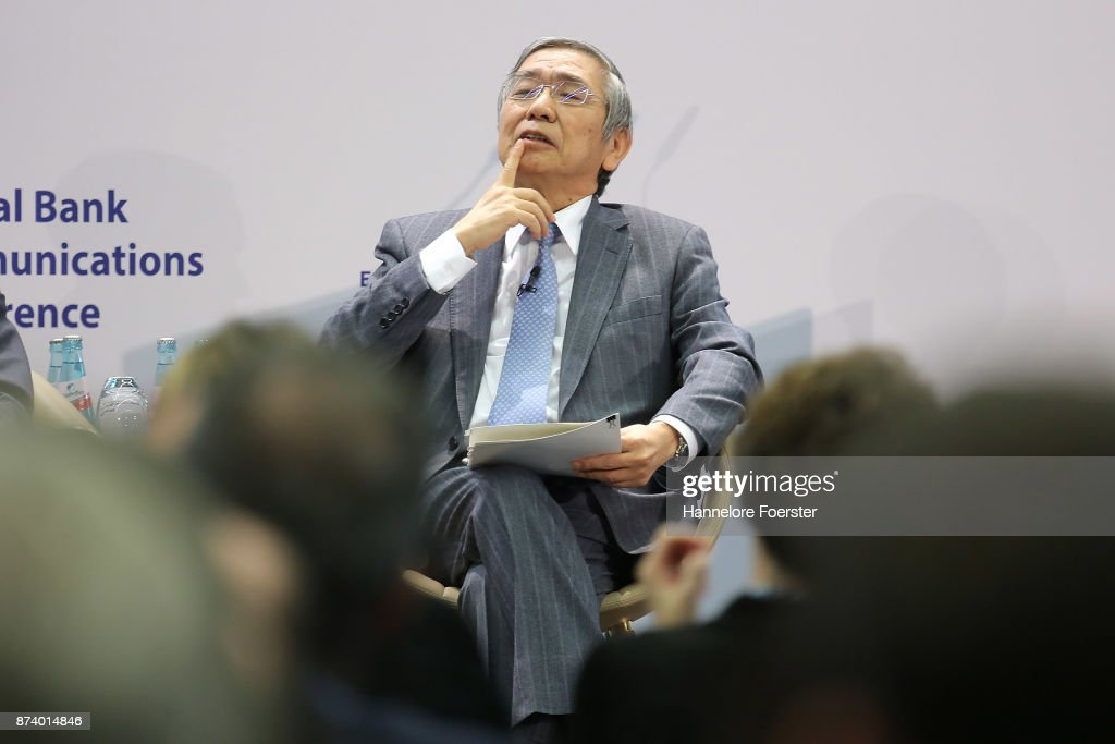 Haruhiko Kuroda, Governor of the Bank of Japan, in a panel to discuss central bank communication on November 14, 2017 in Frankfurt, Germany. The event, which is taking place at European Central Bank headquarters, is part of a two-day conference on central bank communication.