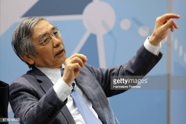 Haruhiko Kuroda Governor of the Bank of Japan in a panel to discuss central bank communication on November 14 2017 in Frankfurt Germany The event...