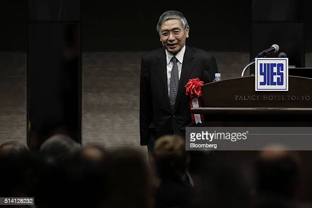 Haruhiko Kuroda governor of the Bank of Japan leaves the podium after after speaking at the Yomiuri International Economic Society meeting in Tokyo...