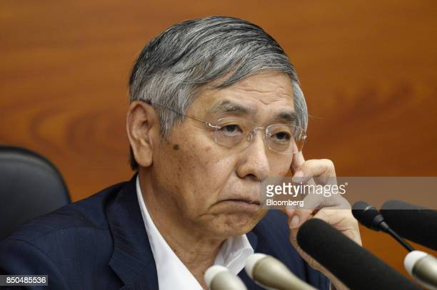 Haruhiko Kuroda governor of the Bank of Japan listens during a news conference in Tokyo Japan on Thursday Sept 21 2017 Just hours after the US...