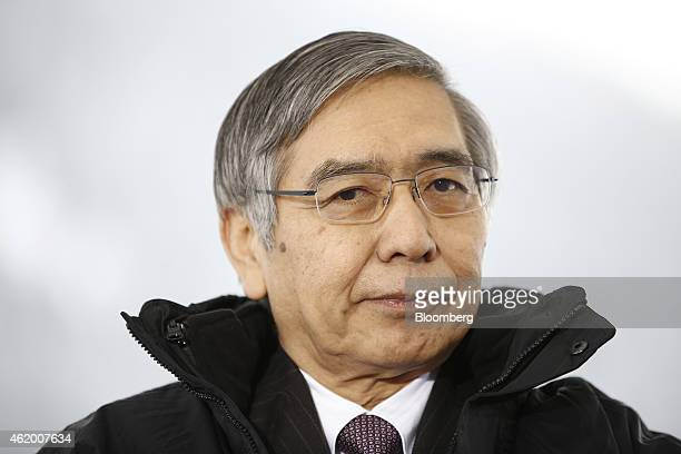 Haruhiko Kuroda governor of the Bank of Japan pauses during a Bloomberg Television interview on day three of the World Economic Forum in Davos...