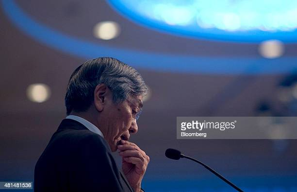 Haruhiko Kuroda governor of the Bank of Japan pauses during a speech at the Amartya Sen Lecture Series 2015 in Bangkok Thailand on Tuesday July 21...