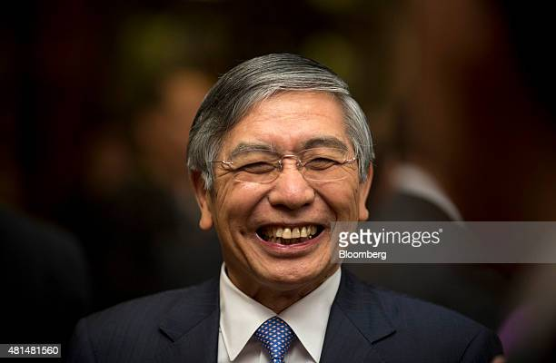 Haruhiko Kuroda governor of the Bank of Japan reacts before delivering a speech at the Amartya Sen Lecture Series 2015 in Bangkok Thailand on Tuesday...