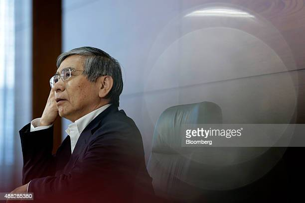 Haruhiko Kuroda governor of the Bank of Japan reacts during a news conference at the central bank's headquarters in Tokyo Japan on Tuesday Sept 15...