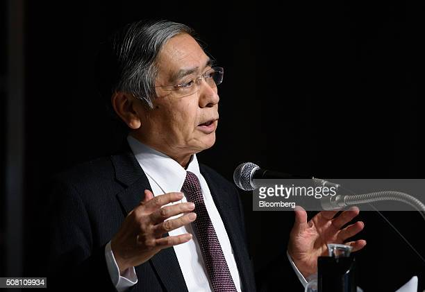 Haruhiko Kuroda governor of the Bank of Japan speaks at a meeting hosted by Kyodo News in Tokyo Japan on Wednesday February 3 2016 Kuroda in his...